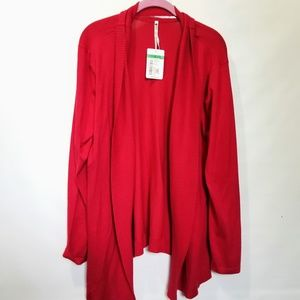 New Leo & Nicole Red Open Front Cardigan Sweater